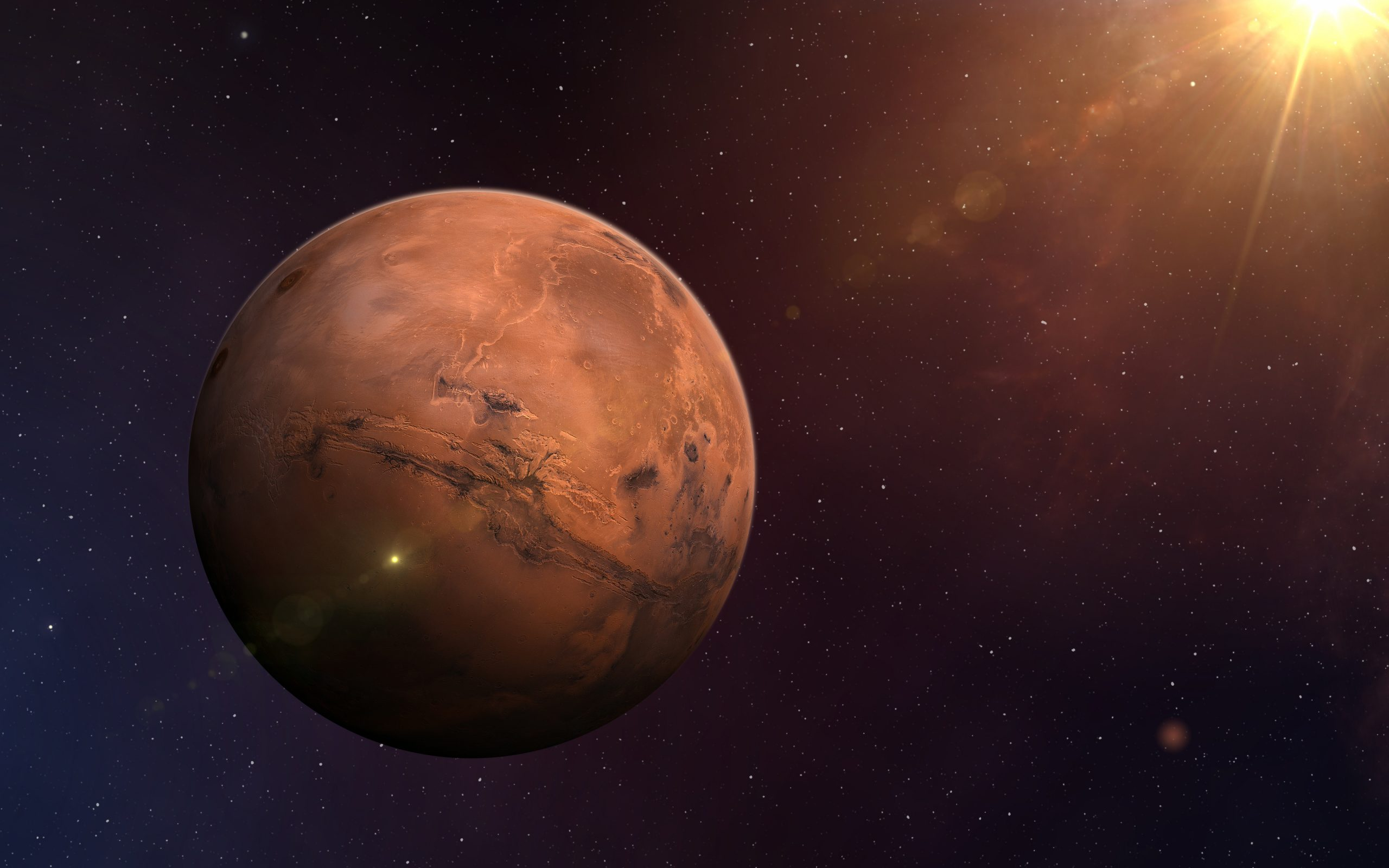 View of planet Mars from space. Space, nebula and planet Mars. This image elements furnished by NASA.